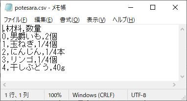 メモ帳CSV